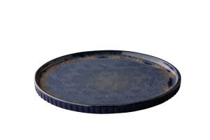 Q Authentic Stone Blue Bord Met Opstaande Rand 26,5 Cm
