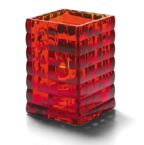 Vierkante glashouder robijnrood