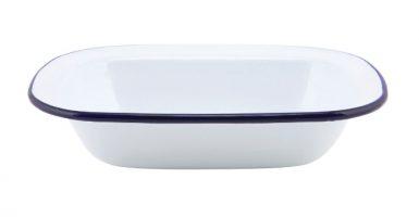 Emaille Ovenschaal Met Blauwe Rand 18 Cm