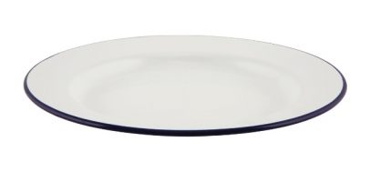Emaille Bord Met Blauwe Rand 24 Cm