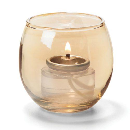 Theelicht luchtbel glas goud