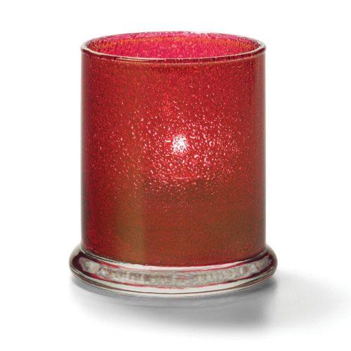 Cilinder glas breed onderstel rood