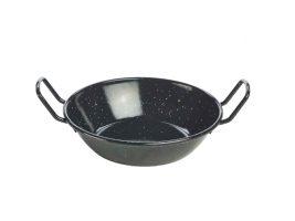 Emaille Wokpan Zwart 18 Cm