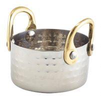 Gehamerd Pannetje Met Brass Handvaten 7,5x4cm