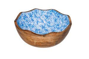 Houten Kom Blauwe Bloem Ø30 X 11 Cm