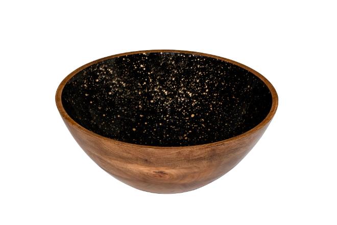 houten buffetschaal zwart met goud