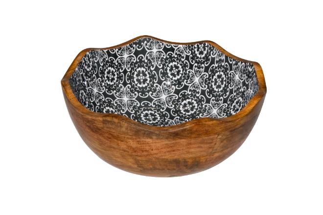 houten buffetschaal zwarte bloem