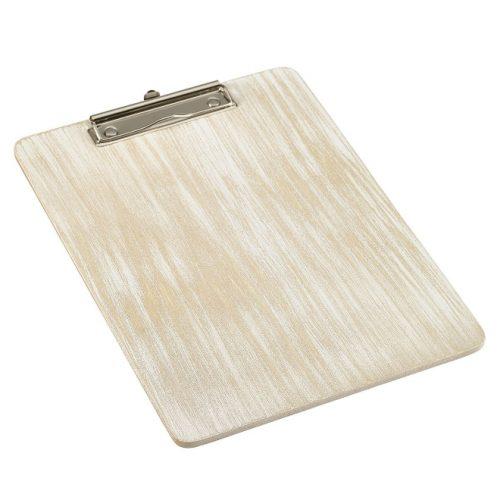Houten menu-/rekeningklembord white-wash A4