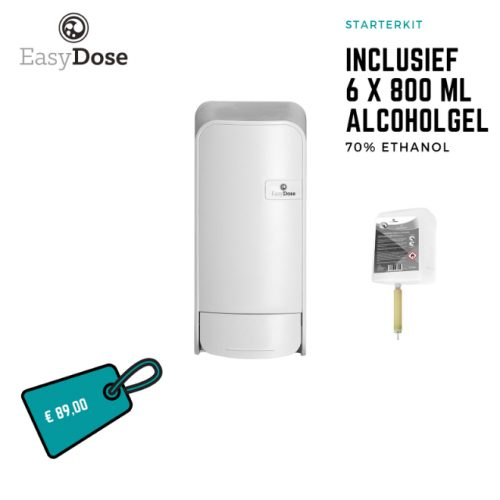 Alcoholgel 6x800ml incl. dispenser wit
